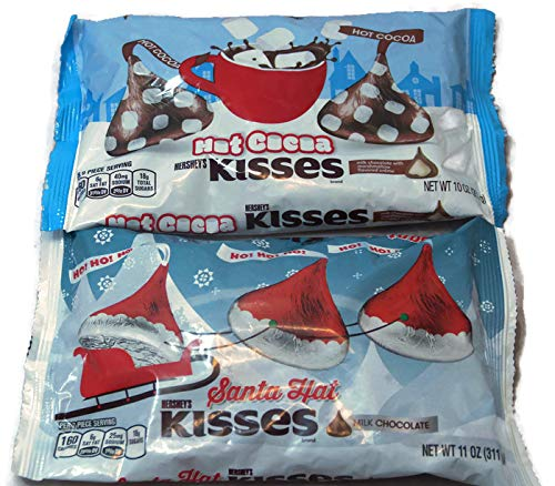 - Variety Pack - Hersheys Hot Cocoa Kisses 10 oz, Hersheys Santa Hat Milk Chocolate Kisses 11 oz