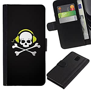 Ihec-Tech / Flip PU Cuero Cover Case para Samsung Galaxy Note 3 III N9000 N9002 N9005 - Skull Beat Bones