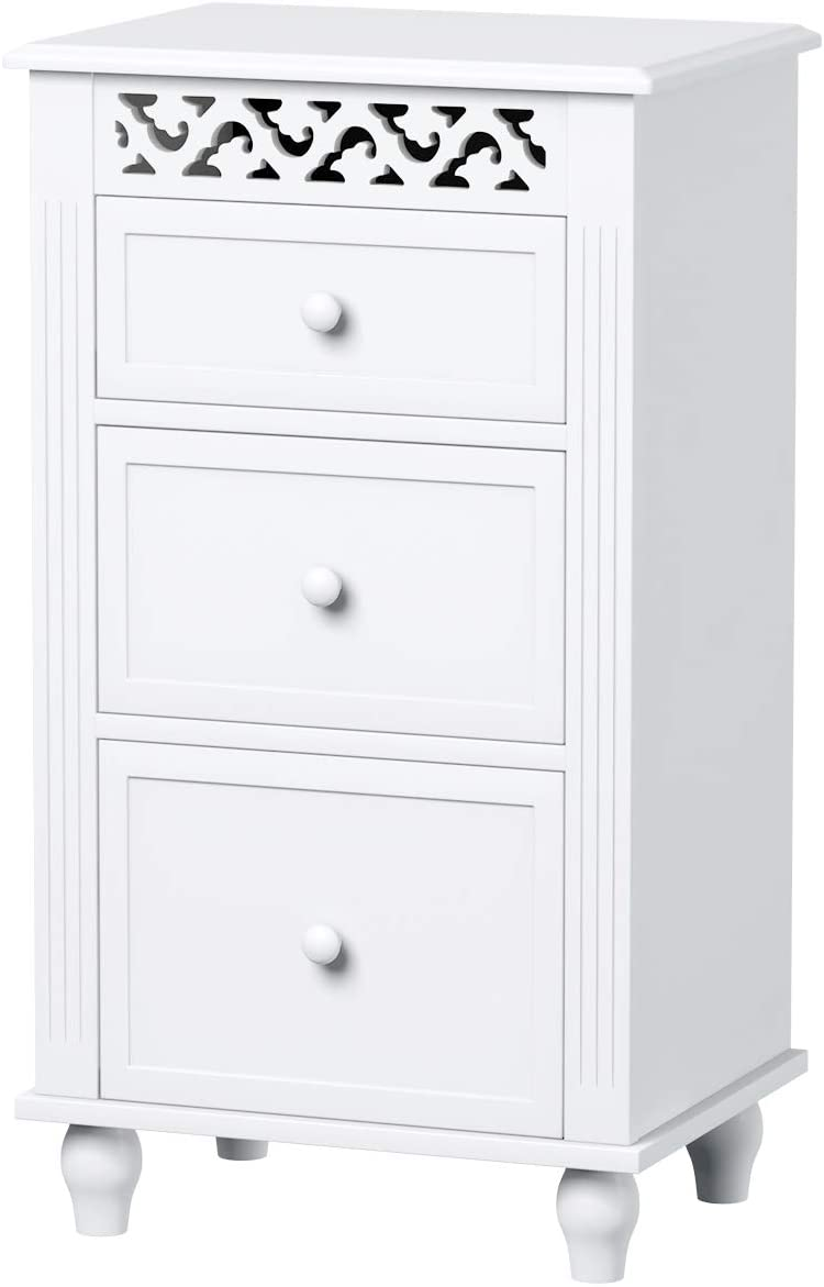 Giantex Storage Floor Cabinet W 3 Drawers Wood Bathroom Cupboard Organizer Kitchen Collection Cabinet Shelf Nightstand Beside End Table White 3 Drawers
