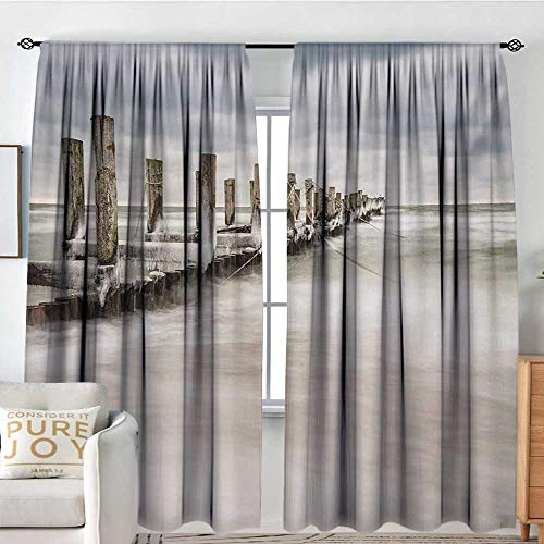 Curtains for Living Room Coastal,Groyne in Zingst Germany Idyllic Scenery Frosty Country Winter Seashore,White Tan Baby Blue,Darkening and Thermal Insulating Draperies 54