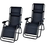 Sol Maya 2 x Zero Gravity Recliner Infinity Lounge Patio Pool Yard Beach Chair 1pc Chair Set of Two (2) (Black)