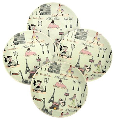 Boston International J'Aime Paris Round Ceramic Plates, 6-Inch, Mint Green, Set of 4 ()