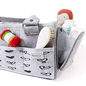 Panda Baby Diaper Caddy Organizer| DetachableStraps| Picture Frames Slot 4×6| Portable Holder Bag for Changing Table| Newborn Nursery Car Basket Storage Bin Shower Gifts or Registry Diapers Stacker