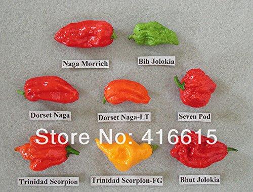Hot Sale! 240 Pcs,WORLDS HOTTEST Pepper Seeds,8 Worlds Hottest Pepper , RARE Chili Pepper Seeds,Plus Mysterious Gift