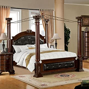Mandalay Antique Baroque Style Brown Cherry Finish Queen Size Bed Frame Set & Amazon.com: Mandalay Antique Baroque Style Brown Cherry Finish ...