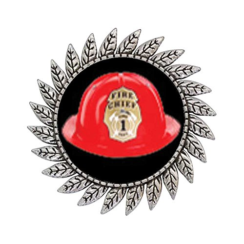 [GiftJewelryShop Ancient Style Silver Plate Fire Chief Helmet Hot Style Gear Round Pin Brooch] (Helmet Style Pin)