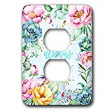 3dRose Uta Naumann Sayings and Typography - Blue Artprint Flower Frame Gold Letter Typography - It Was Always You - Light Switch Covers - 2 plug outlet cover (lsp_289830_6)