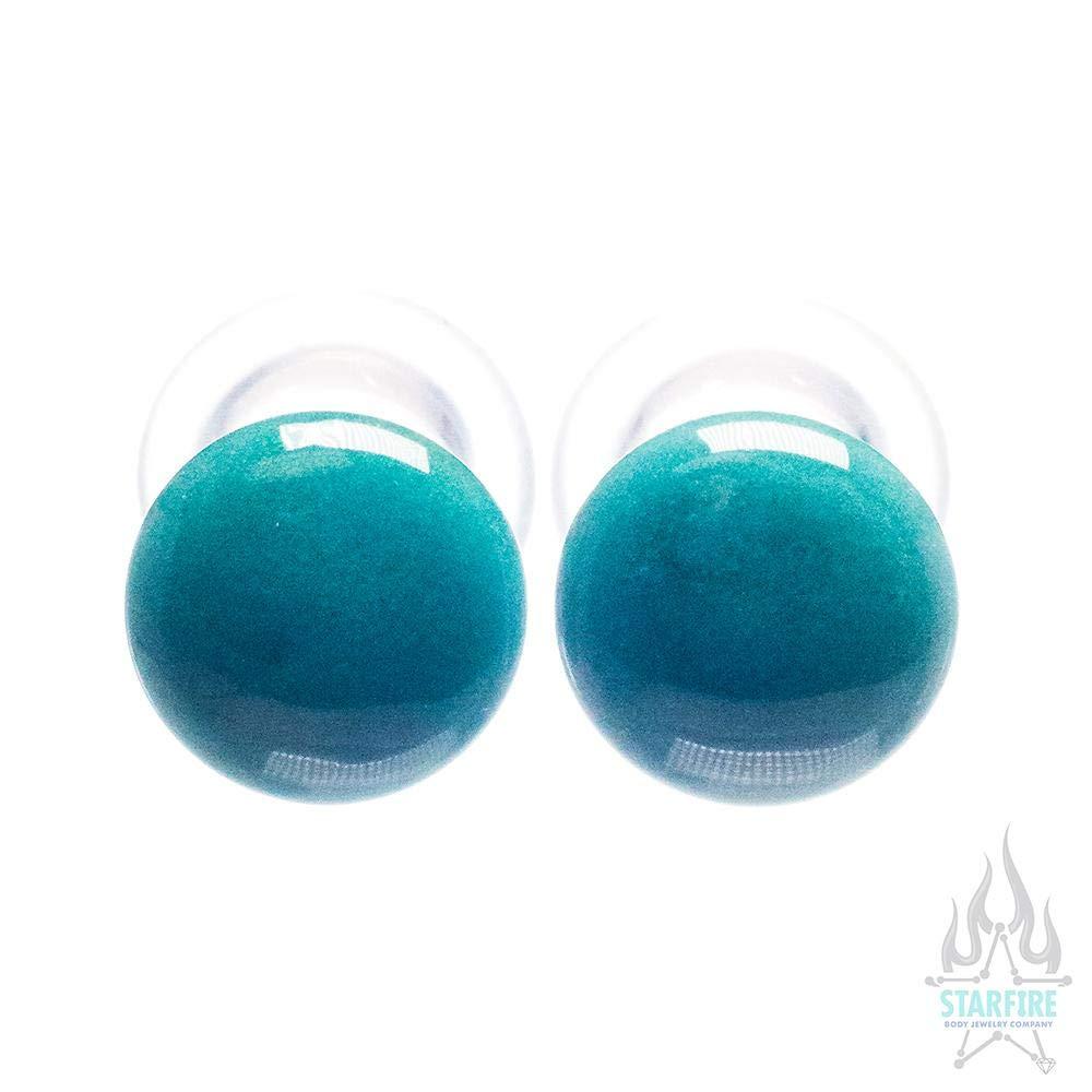 Gorilla Glass Single-Flared Glass Colorfront Plugs - Aqua, 7/8'' Standard Single Flare