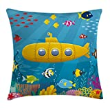 Ambesonne Yellow Submarine Throw Pillow Cushion Cover, Coral Reef with Colorful Fish Ocean Life Marine Creatures Tropic Kid, Decorative Square Accent Pillow Case, 18 X 18 Inches, Blue Yellow Pink