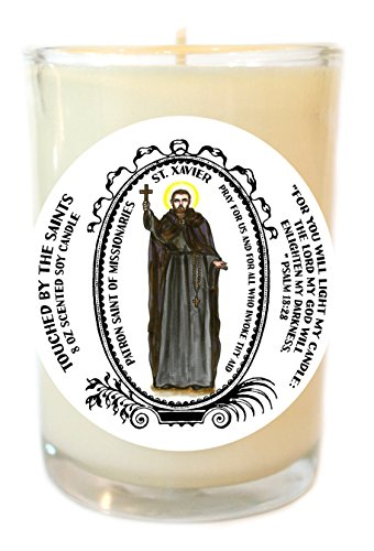 Saint Xavier Patron of Missionaries 8 Oz Scented Soy Prayer Candle by Touched By The Saints