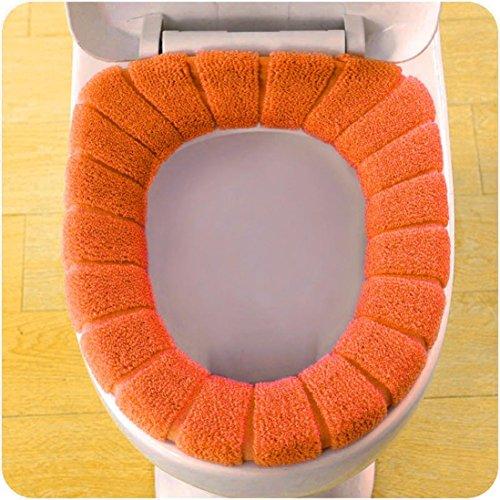 Toilet Seat Mat,by Vibola Pumpkin universal toilet seat pad Washable Bathroom Comfortable Velvet Coral Toilet Seat (Orange) by Vibola® (Image #2)
