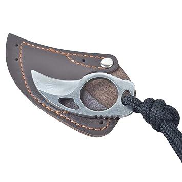 Kangcheng Cuchillo de dedo de acero Cuchillos de supervivencia al aire libre plegable Cuchillo de bolsillo Gancho de hoja fija Cuchillo Herramienta ...