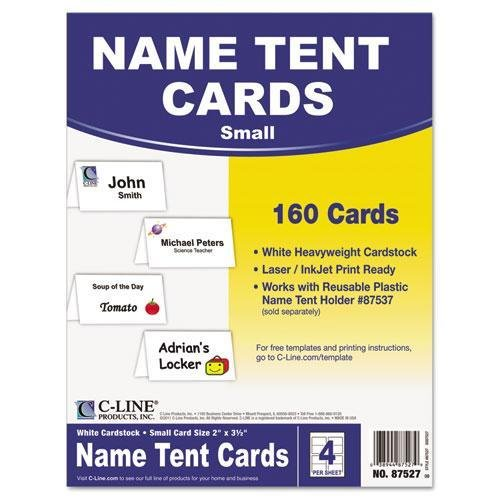 C-Cline 87527 Scored Tent Cards, White Cardstock, 2 x 3 1/2, 4/sheet, 40 sheets/BX