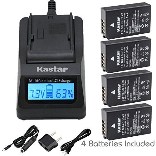Kastar Fast Charger and Battery 4-Pack for Nikon EN-EL20, Nikon EN-EL20a work with Nikon Coolpix A, Nikon 1 AW1, Nikon 1 J1, Nikon 1 J2, Nikon 1 J3, Nikon 1 S1, Nikon 1 V3, Blackmagic Pocket Cinema ()