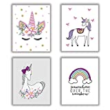 "HOME_PLAY Unicorn Art Print Set Of 4 (10""X8""Rainbow Art Painting Unicorn Gift For Girls,Canvas Painting Posters And Prints Wall Pictures For Kids Room Home Decor,No Frame"