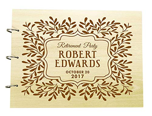 Engraved Guest Book (Personalized Retirement Party Wood Engraved Guest Book, Photo Album Custom Scrapbook)