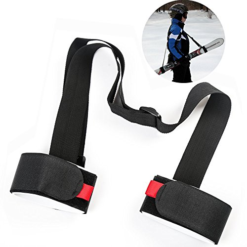 Shoulder Ski Carrier Straps Sling with Cushioned Velcro Holder Adjustable Ski Shoulder Lash Handle Straps