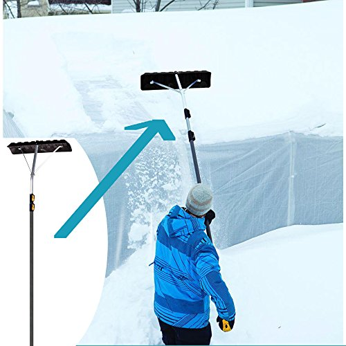 Use Roof (Non-Slip Handle Extends To17 Ft. Telescoping Roof Rake w/ 24 In. Poly Blade, Collapsible For Easy Storage, Use From The Ground, No Ladder Needed Clears Roof Of Dangerous Snow Build-Up)