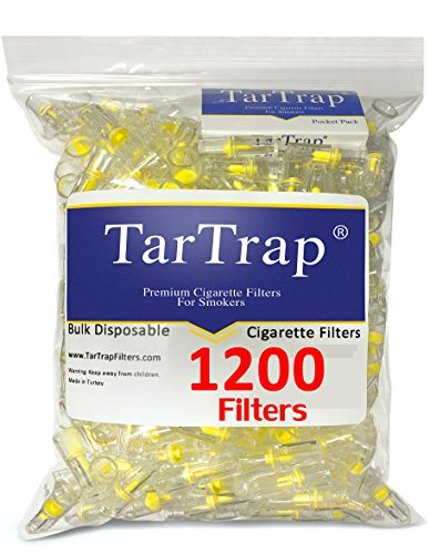 TarTrap Disposable Cigarette Filters - Bulk Economy Pack (1200 Filters Plus 4 FREE Lighters) (Filters Trap Tar)