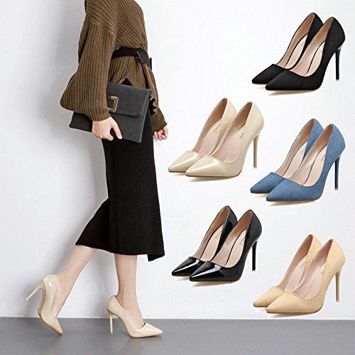 punta Beige la mate alto fina tacones Los profesional Matt chica con de negro de zapatos tacón tacón de altos zapatos la nwqwOHWx6