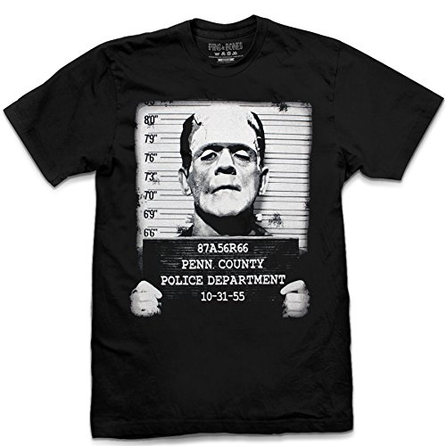 Pins & Bones Frankensteing Face Mug Shot Halloween Black Shirt (Halloween Mugshots)