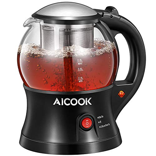 - Electric Teapot, AICOOK Cordless Tea Pot Kettle with Removable Tea Infuser Set, Tea Maker For Blooming, Loose Leaf & Tea Bag and Flowering Tea, Keep Warm, Auto Shut-Off and Boil-Dry Protection, BPA Free