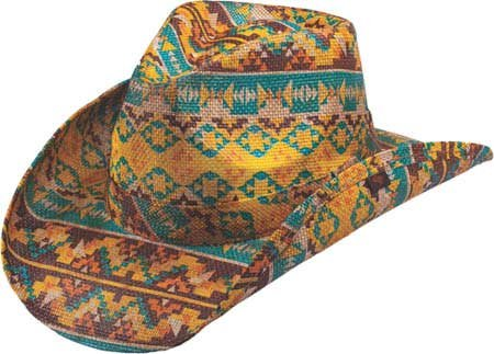 b7beb0c509095 NEW PETER GRIMM AZTEC MULTI-COLORED WESTERN COWBOY HAT  Amazon.in  Clothing    Accessories