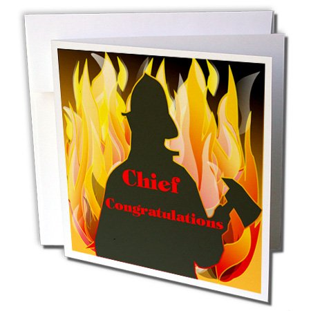 Florene Congratulations For Careers - Image of Congratulations For Fire Chief with Dramatic Flames - 1 Greeting Card with envelope (Fire Chief Birthday)