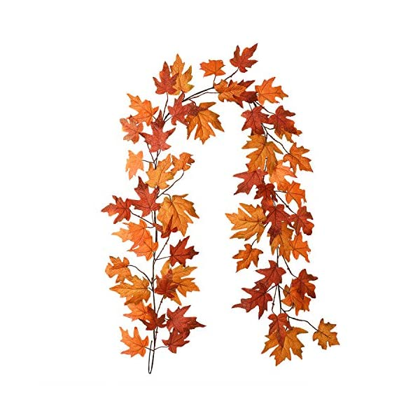 DearHouse Fall Garland Maple Leaf, 6 Ft/Piece Hanging Vine Garland Artificial Autumn Foliage Garland Thanksgiving Decor for Home Wedding Fireplace Party Christmas
