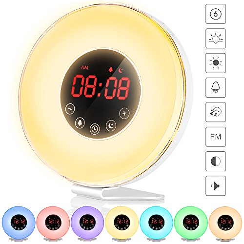 - Alarm Clock, totobay Wake Up Light Electronic Alarm Clock with 7 colors Night Light 7 sounds Sunrise / Sunset Simulation Alarm Radio Clock with Snooze Function / FM Radio / Touch Control / USB Charge