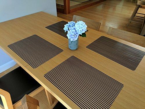 Cait Chapman Home Fashion Clear Vinyl Stripe Placemats (Black), Set of 4