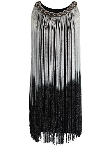 [KAYAMIYA Women's Art Deco 1920s Gatsby Fringe Prom Party Flapper Dress Ombre L Silver] (1920s Womens Fashion Costumes)