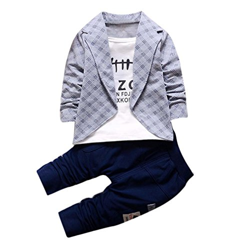 DaySeventh Boys Handsome Outfit Clothes Checked Vest Tie Shirt Long Tops Pants 1Set (2 Years/Medium, Gray), Size 90