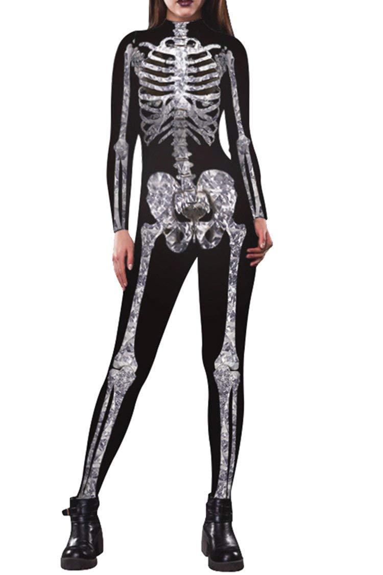 Timemory Womens Skeleton Print Cosplay Tight One-Piece Swimsuit for Halloween TM-SM-007