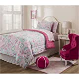 Mainstays Kids Sherbet Pink Bed in a Bag Bedding Set includes: Comforter, Flat Sheet, Fitted Sheet, Standard Sham(s) and Pillowcase(s), FULL