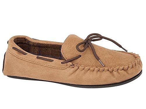 Del Con Marrone Chiaro Scamosciata 7 Pantofola In Misura Faux Mocassino 12 Da Uomo New Hampshire Pelle ZqB1w