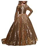 hengyud Gold Sequins Toddler Pageant Dresses Long Sleeves Prom Dress for Girls 124