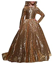 Gold Sequins Long Sleeves Dress for Girls