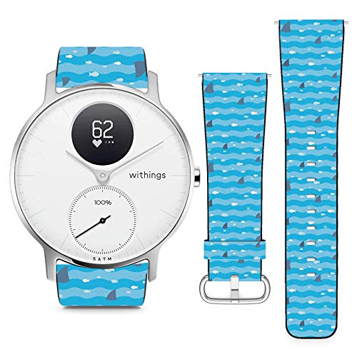 Compatible with Withings (Nokia) Steel HR 36mm // 18mm Leather Replacement Bracelet Strap Wristband with Quick Release Pins // Fish Fins Sharks Swimming