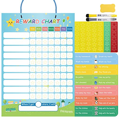 Opret Magnetic Reward Chart for Kids Learning Responsibility Chores Good Behavior for Wall or Refrigerator with 24 Chores 60 Stars 2 -