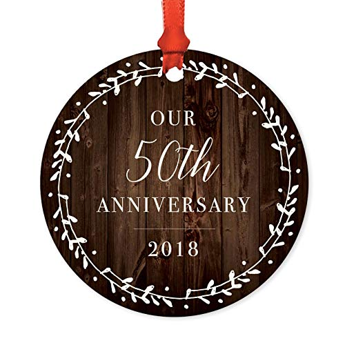 Andaz Press Metal Christmas Ornament, Our 50th Anniversary 2019, Rustic Wood Florals, 1-Pack, Includes Ribbon and Gift Bag ()