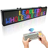 Leadleds 30 x 6-in LED Message Board Scrolling Multicolored Text BMP Icon Hours for Business Home Office Sandwich Restaurant Beer Open - Fast Program by Remote