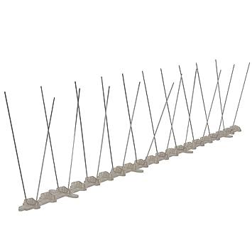 Festnight Pinchos Antipalomas - Hileras Dobles de Puntas Plásticas Anti-Pájaros Juego de 6, 50x2.5 cm