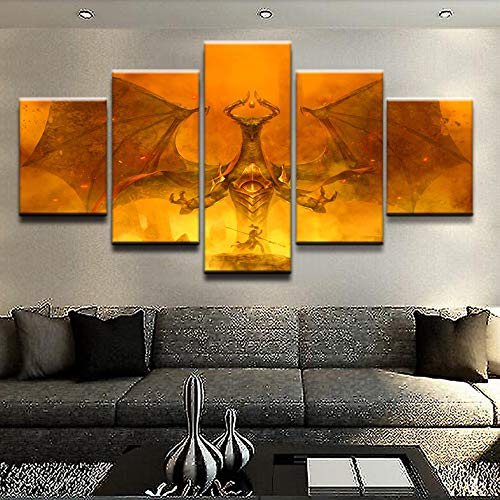 HENANFSLY Modular Hd Prints Pictures Home Decoration 5 Pieces Magic Gathering Paintings Game Canvas Poster Wall Art for Living Room Frame