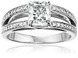 """House of Eleonore """"Dutch Light Bridal"""" White Gold Radiant Laboratory-Created Diamond Engagement Ring (1 3/4cttw, F-G Color, VS1-VS2 Clarity), Size 7"""