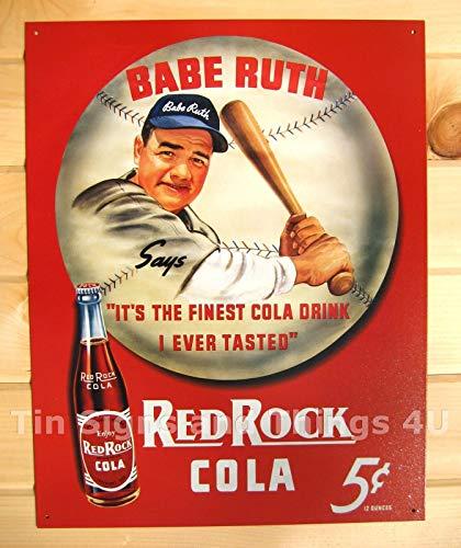 ShopForAllYou Vintage Decor Signs Red Rock Cola Babe Ruth TIN Sign Metal Poster Decor Vintage soda ad Baseball 149