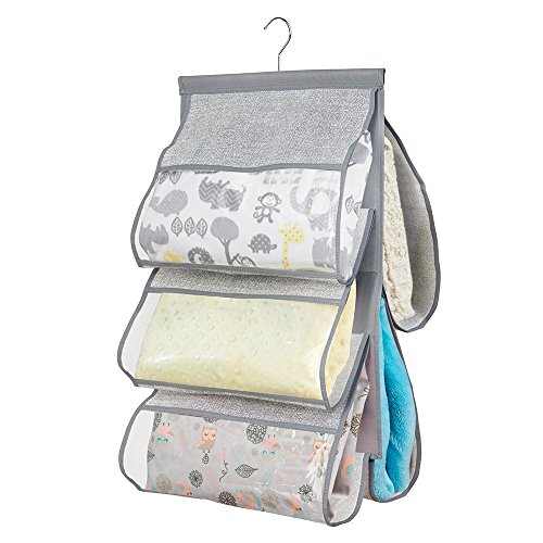mDesign Fabric Baby Nursery Closet Organizer for Blankets, Towels, Bibs, Diaper Bags - Hanging, 5 Pockets, Gray (Closet Organizers For Kids compare prices)