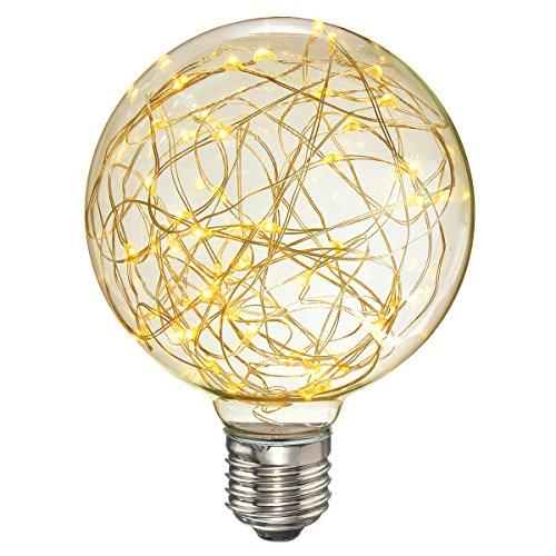 Hession Vintage Globe Edison Light Bulb LED Starry String Lights 3W G95 Bulbs for Fairy Holiday Festival Decoration(Warm White) (Light Bulbs Fairy)