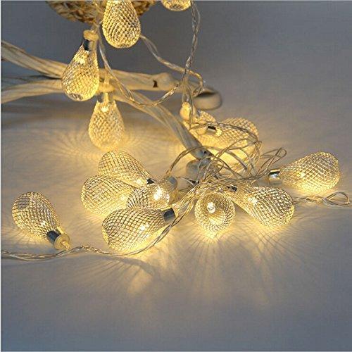 goodia battery operated 20 led fairy lights curtain light golden mesh teardrop christmas tree light ideal for wedding path patio - Teardrop Christmas Lights