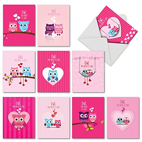 M5665VDG-B1x10 Box Set of 10 'Owl You Need is Love' Valentine's Day Card Featuring Sweet Birds as Feathered Friends Together, with -